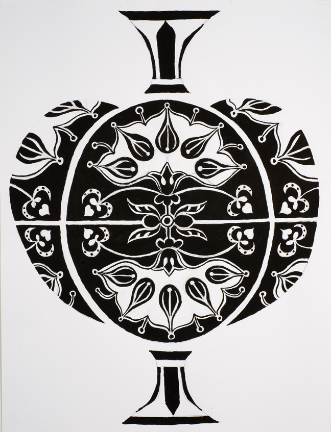 Elisabeth Kley, Large Black and White Three Part Bottle Study with Fans, 2012, ink and graphite on paper, 46 x 35 inches.