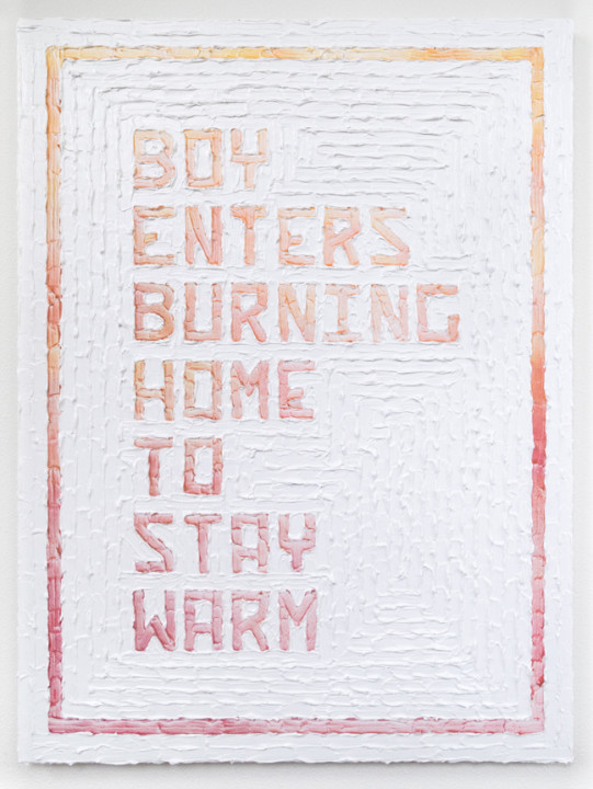 Boy Enters Burning Home To Stay Warm, 2017, acrylic on canvas, 40 x 30 inches.