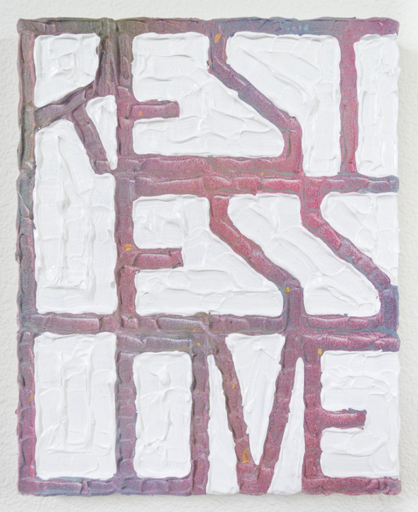 No Vacation, 2017, acrylic on canvas, 10 x 8 inches.