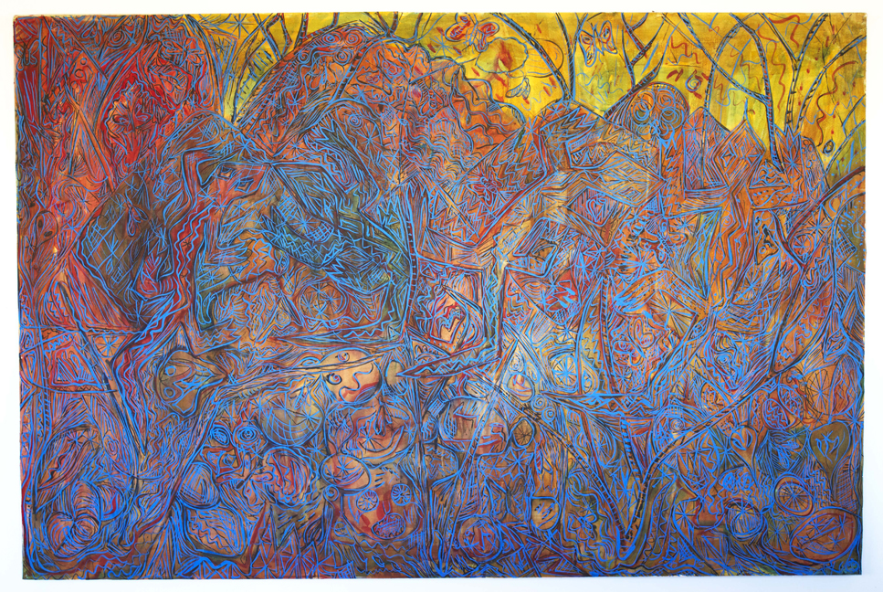 Peter Scherrer, Four Lizards, 2014, watercolor on paper on panel, 48 x 72 inches.
