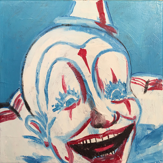 Andy Heck Boyd, Clown, 2016, acrylic on canvas, 12 x 12 inches.
