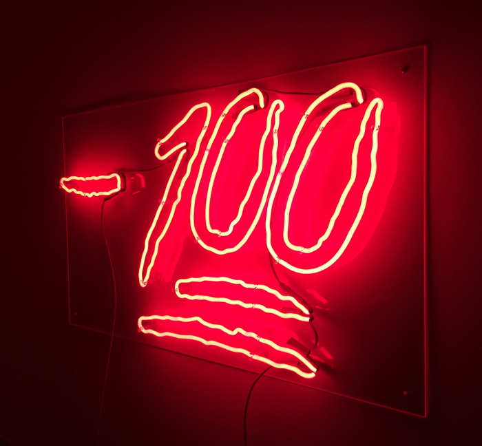 Mike Simi, -100, 2016, neon mounted to plexiglass, 30 x 36 inches.