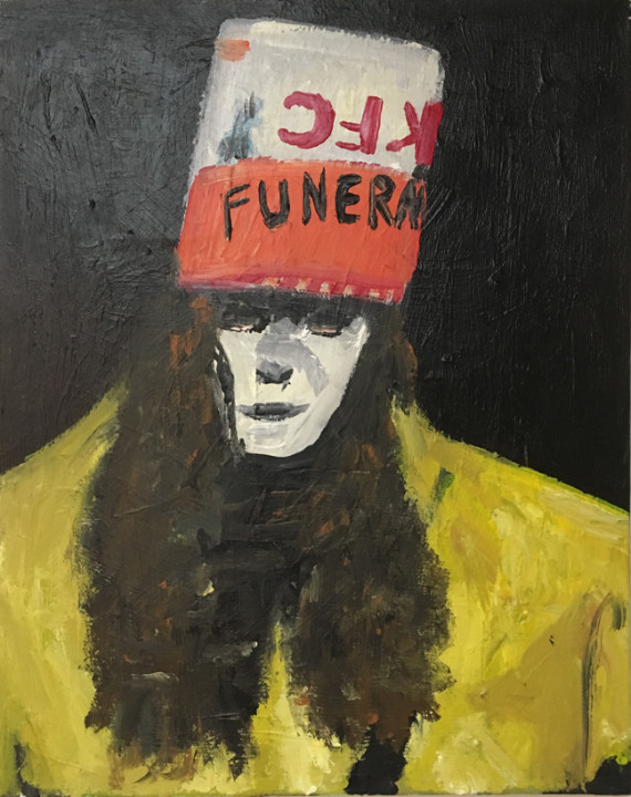 Andy Heck Boyd, Bucket Head, 2016, acrylic on canvas, 20 x 16 inches.