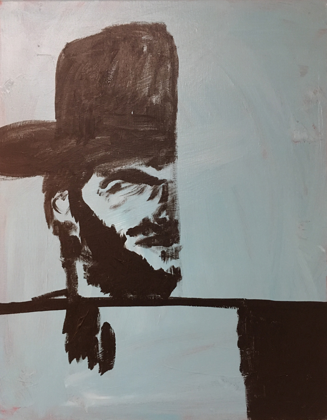Andy Heck Boyd, Clint Eastwood, 2016, acrylic on canvas, 20 x 16 inches.