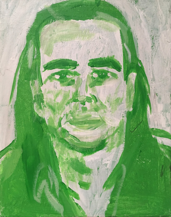 Andy Heck Boyd, Mike Kelley, 2016, acrylic on canvas, 10 x 8 inches.
