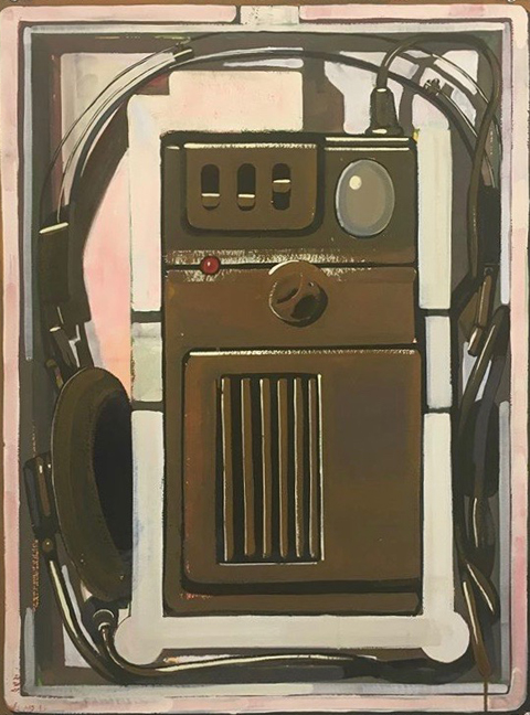 Anthony Palocci Jr, Voice Opperated Walkie Talkie, 2017, gouache on paper, 30 x 22 inches.