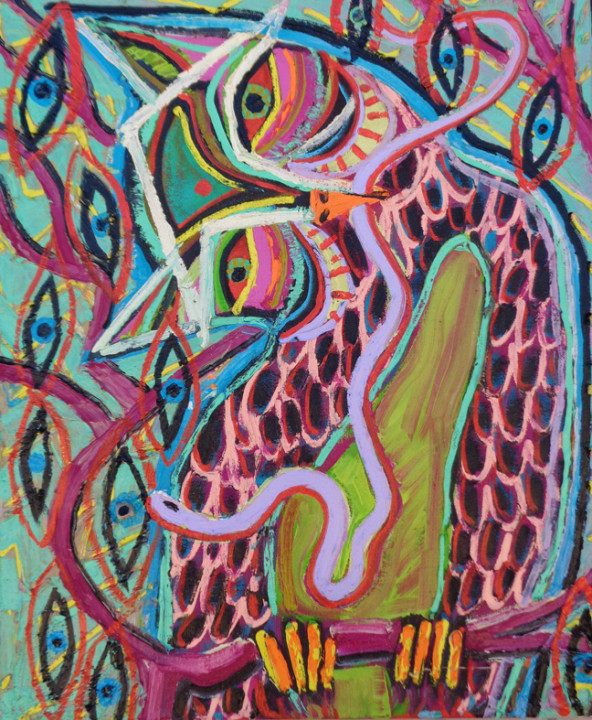 Ryan Schneider, Owl Omen, 2015, oil and bone on linen, 24 x 20 inches.