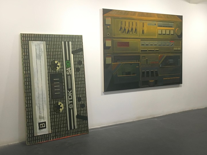 (left) B-Side, 2016, oil on canvas, 60 x 36 inches. (right) Joanne's Stereo, 2016, oil on canvas, 54 x 72 inches