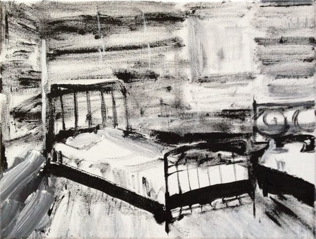 Andy Heck Boyd, Untitled (Bed), 2016, acrylic on canvas, 12 x 9 inches.
