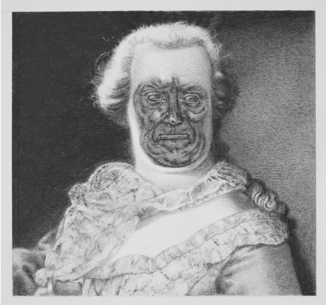 JAMES CICATKO, MARIA THERESA, 2014, GRAPHITE ON PAPER, 6 X 7 INCHES.