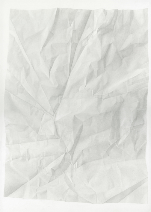 Juliet Jacobson, Birthday Tequila (Verso Horizontal Flip) 2015, graphite on paper, 20 x 14 inches.