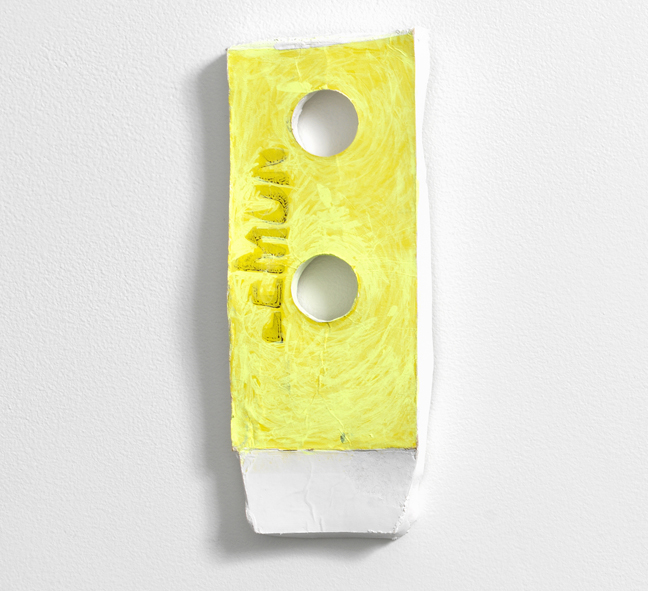 Nicola Ginzel, Composite Fragment, Just Lemon, 2017, cardboard plaster and ink, 7 x 3.5 x .5 inches.
