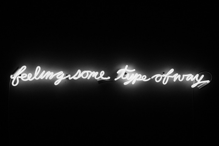 Dylan Neuwirth, Feeling Some Type of Way, 2014, neon, 45 x 5 x 3 inches.