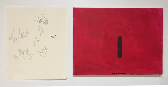 Rami Farook, (l) Untitled, 2018, ink on paper, 13 x 10.5 inches, (r) Black on Crimson Red, 2018, acrylic on canvas, 12 x 16 inches.