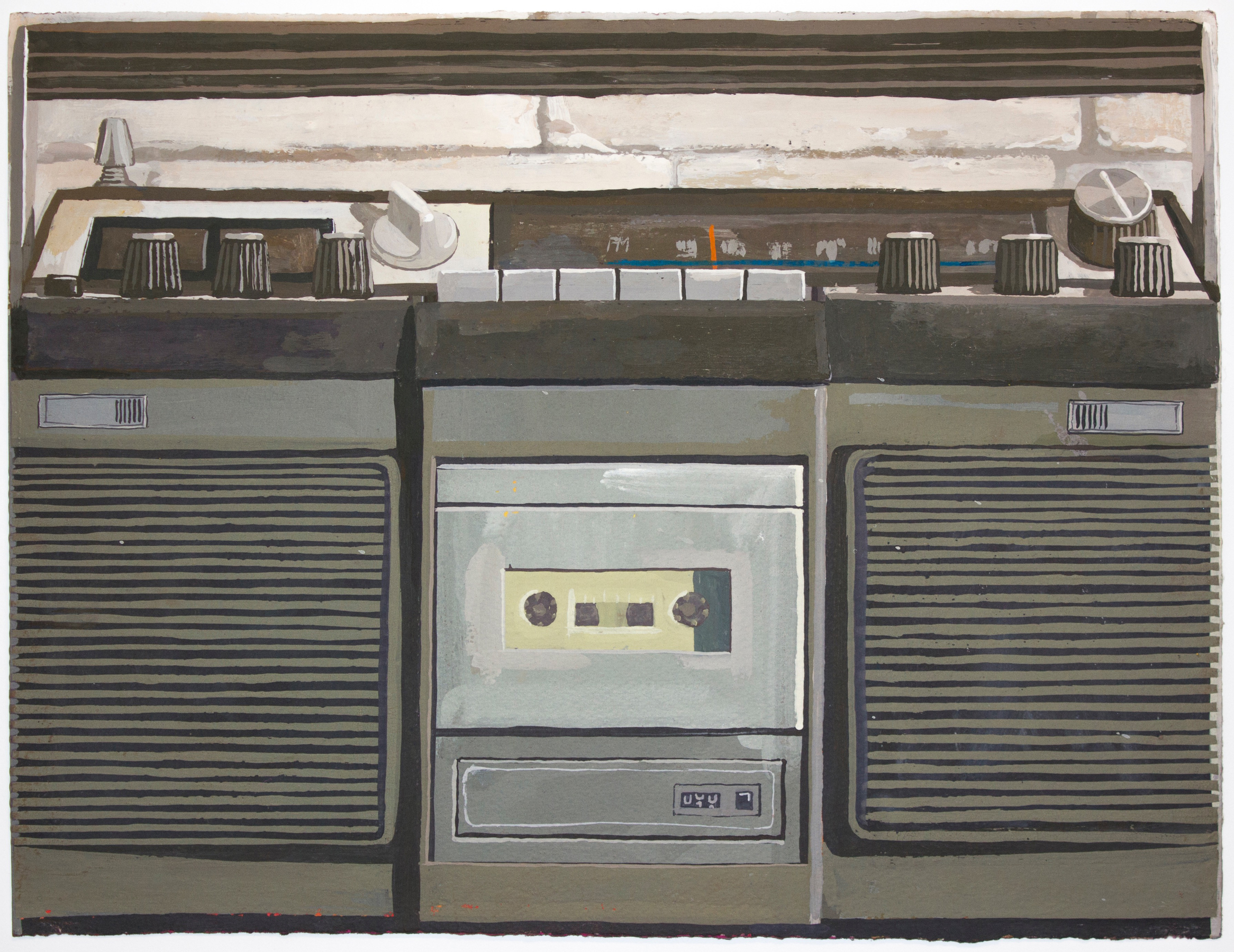 Radio, 2015, gouache on paper, 12 x 16 inches.