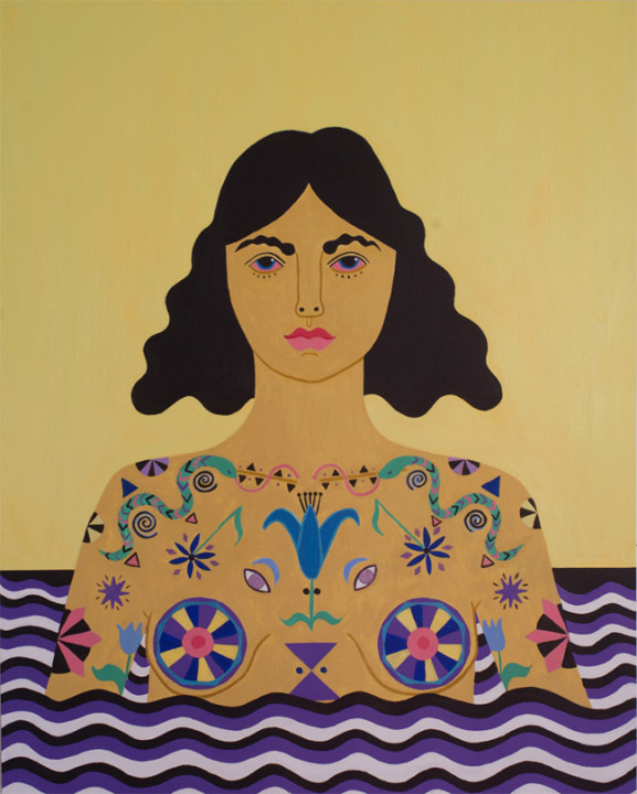 Caris Reid, Water Warrior (Yellow Sky), 2014, acrylic on panel, 24 x 30 inches.