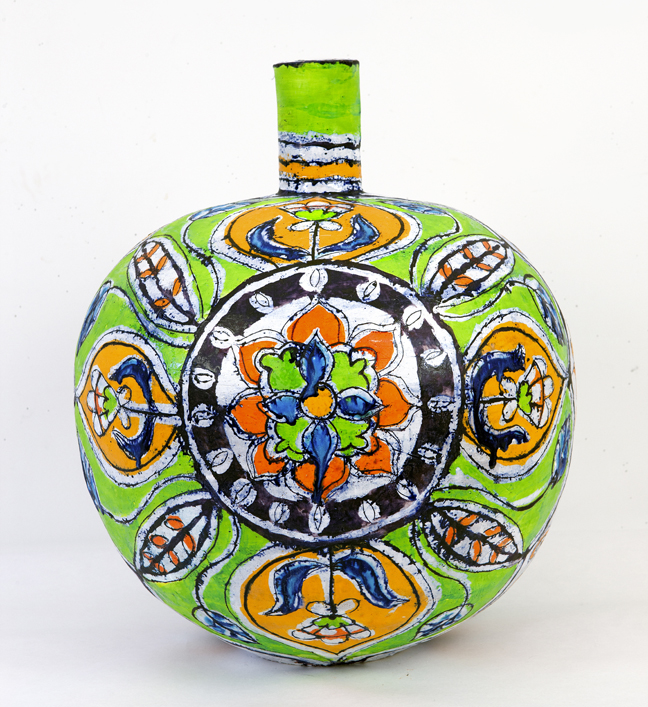 "Elisabeth Kley, Large Green and Gold Round Lotus Bottle, 2012, glazed earthenware, 21"" high."