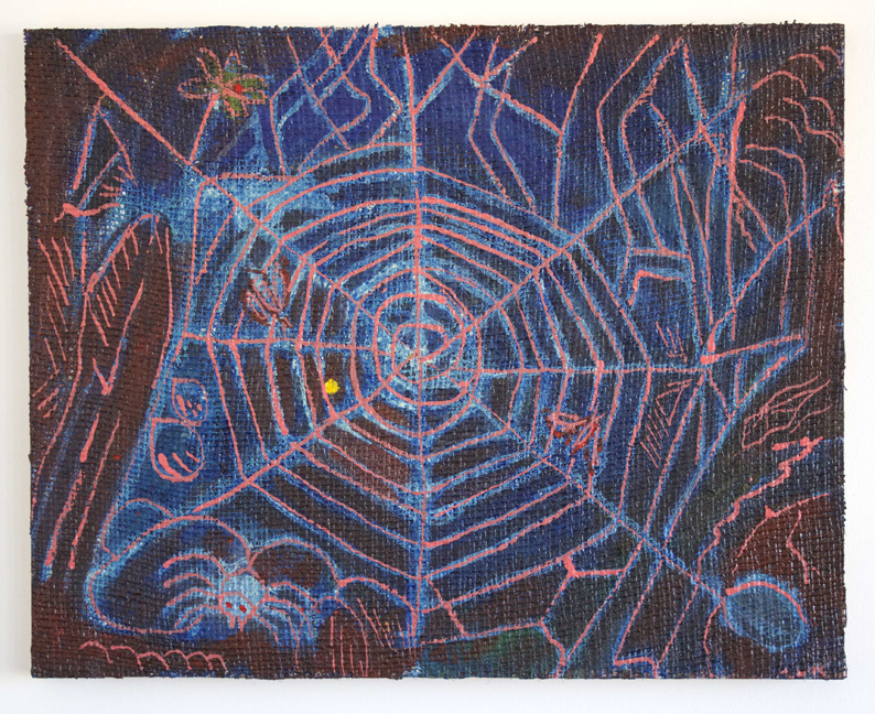 Peter Scherrer, Pink Web, 2014, oil on burlap on panel, 16 x 20 inches.