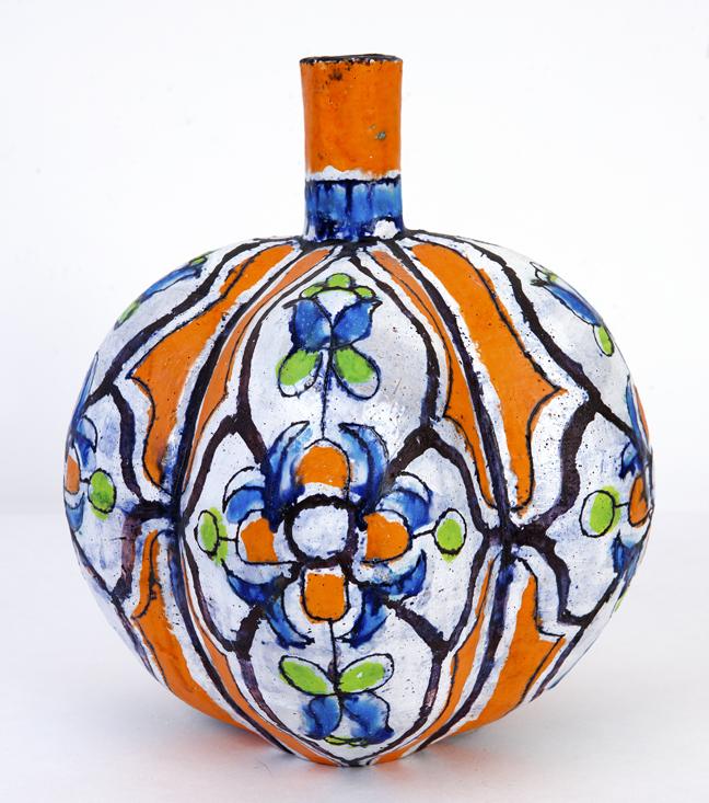Elisabeth Kley, Tangerine Lobed Bottle, 2012, glazed earthenware, 13 inches tall.