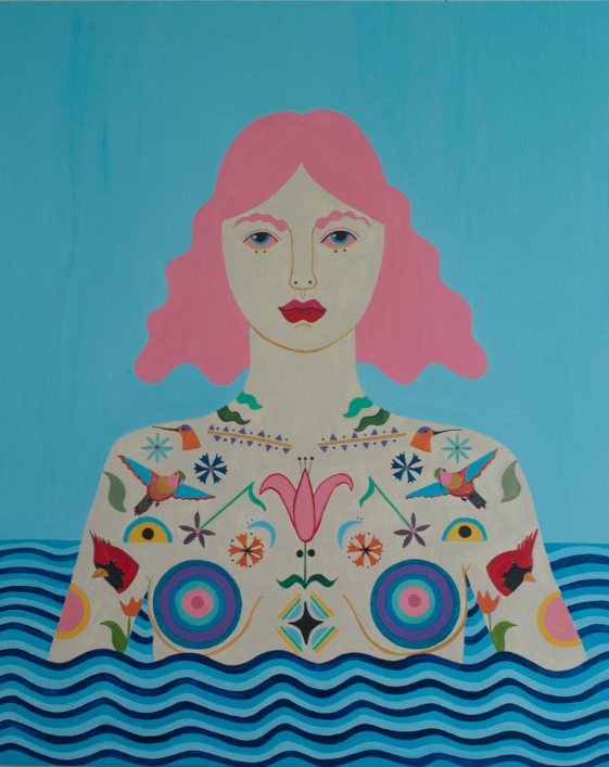 Caris Reid, Water Warrior (Blue Sky), 2014 acrylic on panel, 24 x 30 inches.